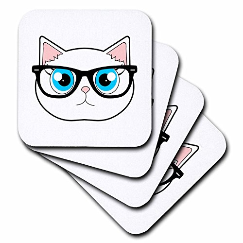 3dRose cst_175371_3 Cute Hipster Cat with Glasses Ceramic Tile Coasters, (Set of (Cat Tile Coaster)