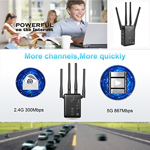 VICTONY WA1200 Long Range Extender 1200Mbps WiFi Repeater Signal Amplifier Booster with 4 External Antennas Complies 802.11a/b/n/g/ac WiFi Extender
