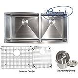 Ariel - 42 Inch Stainless Steel Undermount Double Bowl Kitchen Sink 15mm Radius Design with Accessories