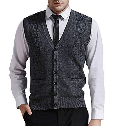 Zicac Men's V-Neck Jacquard Weave Vest Rhombus Pattern Knitwear Sweater Vest Waistcoat (L, Gray) by Zicac