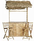Bamboo Bar with Thatched Roof and Two Bar Stools Set (Small Image)