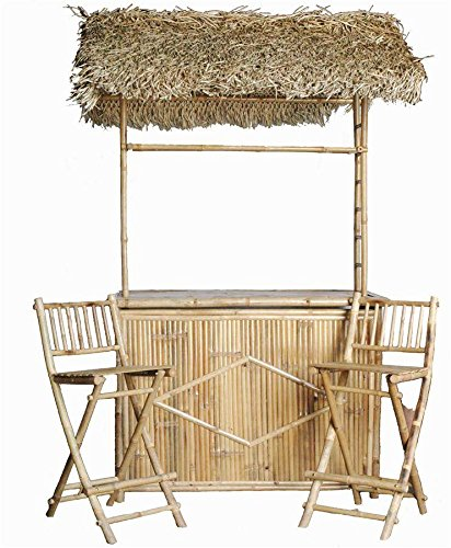 Bamboo Bar with Thatched Roof and Two Bar Stools Set (Large Image)