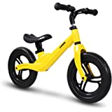 """COEWSKE 12"""" Balance Bike Magnesium Alloy No Pedal Walking Balance Training Bicycle for Kids and Toddlers 18 Months to 5 Years(Yellow)"""