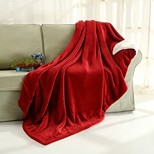 Sherpa Throw Blanket Luxury Burgundy Red Twin Size 60x80 Inches Reversible All Season Super Soft Warm Fleece Thick Fuzzy Microplush Blanket for Bed Couch and Gift Blankets by (Microplush Throw)