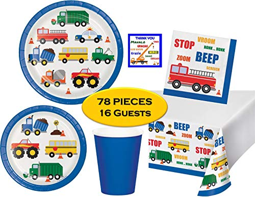 - Traffic Jam Transportation Birthday Party Kit for 16 Guests - Dinner & Dessert Plates, Napkins, Cups, Tablecover, Thank You Stickers & Checklist (78 Pieces)