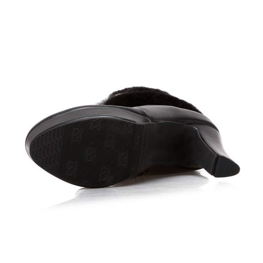 Damen Stiefeletten, hochhackige Mode Stiefel Stiefel Stiefel Winter Kurze Stiefel Wasserdichte Plattform Kunstleder Plüsch runden Kopf Reißverschluss,schwarz,46 eef3dc