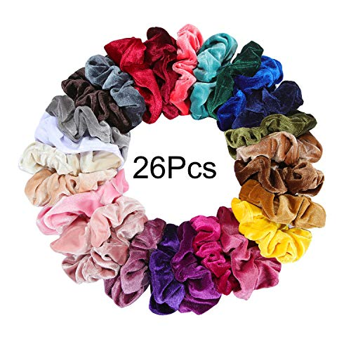 Nxconsu 26Pcs Velvet Hair Scrunchies Silky Cute Elastic Hair Bands Ties Ropes Hair Stylish Ponytail Accessories Exquisite Colors Selection For Girls and Women