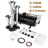 COOCHEER 150DB Train Air Horn Kit, 4 Trumpet Loud