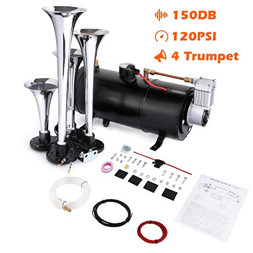 affordable Ruyiot 4 Trumpet Train Horn Kit, 150DB Loud Train Air Horn Kit for 12V Vehicles Trucks Cars Train Van Boats with Powerful Air Compressor