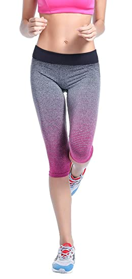 fd1d585ddb6e0 Sunny Morning Womens Yoga Pants Ombre Colorful Workout Tights Leggings  Running Sports Athletic Pants, Fuchsia