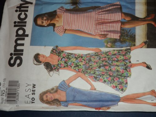 Simplicity 7325 Sewing Pattern for Drop Waist or Slim Dress with Pleated Wide Straps That Form Cap Sleeve, with Back Zipper in Two ()