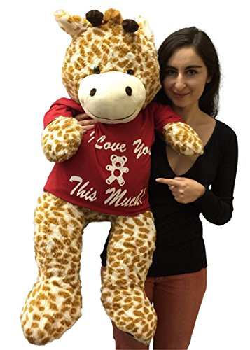 3-Foot-Giant-Stuffed-Giraffe-36-Inch-Soft-Wears-Removable-Tshirt-I-Love-You-This-Much