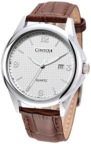 Comtex Men's Quartz Watches with Brown Leather Strap and Date Display Classic Watch - Strap Date Display