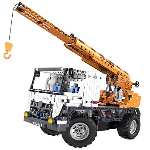 ToySharing Building Blocks Toy Remote Control Car RC Mobile Crane and Wrecker Truck 2 in 1 Mode, 838 Pieces