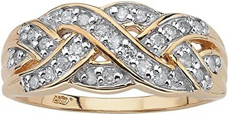 Round White Diamond 10k Yellow Gold Braided Crossover Ring (.25 cttw, HI Color, I3 Clarity)
