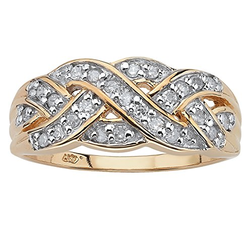 Diamond Crossover Gold - Round White Diamond 10k Yellow Gold Braided Crossover Ring (.25 cttw, HI Color, I3 Clarity) Size 7
