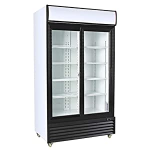 Double Sliding Glass Door Upright Display Merchandiser - Refrigerator - Beverage Cooler