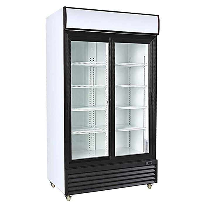 The Best Double Sliding Door Display Beverage Cooler Merchandiser Refrigerator