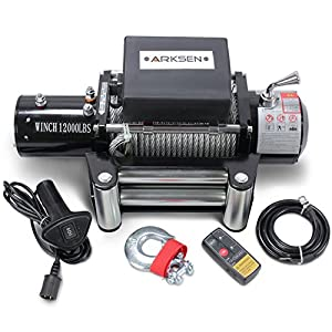 Arksen 12 Volt Electric Recovery Winch with Remote Control Towing for Truck SUV ATV Trailers 12000LBS Capacity , Black