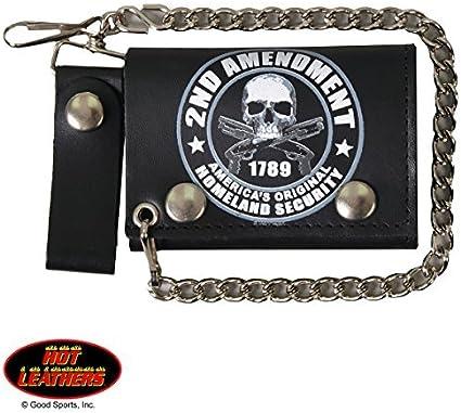 2nd AMENDMENT, 1789 AMERICA'S HOMELAND SECURITY, Detachable Chain & Leather Belt, Bikers Tri-Fold WALLET
