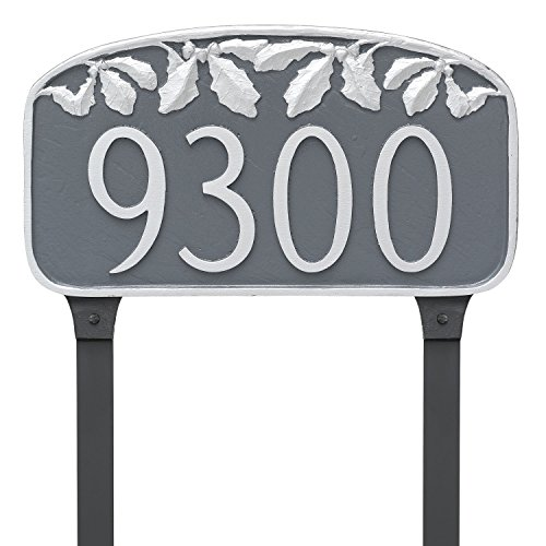 (Montague Metal Oak Leaf Address Sign Plaque with Lawn Stakes, 7.25