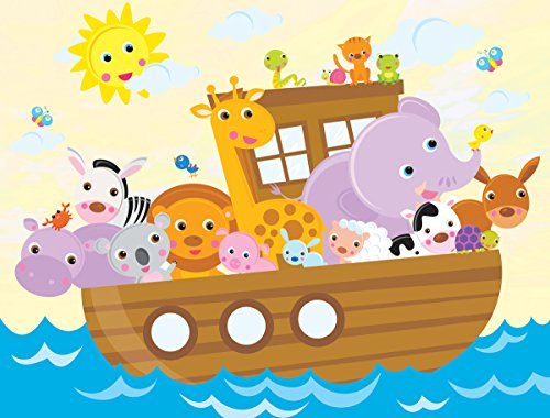 JP London PMUR2064 Peel and Stick Removable Wall Decal Sticker Mural, Noah's Ark Animal Friends, 4 x 3-Feet