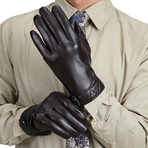 MarSue Men's Touchscreen Winter Real Leather Gloves Full-Hand by MarSue (Image #1)