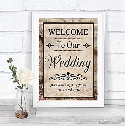 The Card Zoo - Cartel de boda personalizado, diseño vintage ...