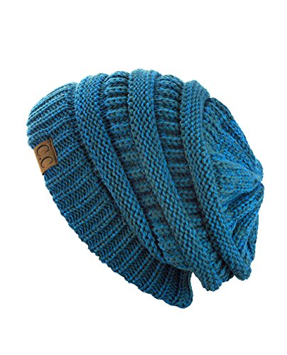 C.C Trendy Warm Chunky Soft Stretch Cable Knit Beanie Skully (2 Tone Blue/Teal) ()