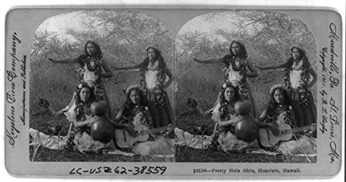 (Historic Photos 1901 Photo Pretty Hula Girls, Honolulu, Hawaii 4 hula dancers in the crater of Punch Bowl Mountain.)