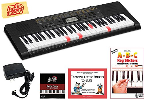 Casio LK-265 Lighted Keys Keyboard Bundle with Power Supply, Removeable Stickers, Instructional Book, Austin Bazaar Instructional DVD, and Polishing Cloth (Casio 61 Key Full Size Lighted Keyboard)