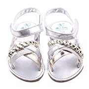 Voberry® Baby Infant Girls Summer Prewalker Bronze Anti-Slip Crib Flat Sandals (0~6 Month, Silver)