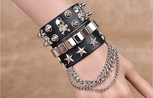 - SummitLink Retro Punk Rock Multi Circle Rivet Chain PU Creative Wrap Punk Bracelet (B02)