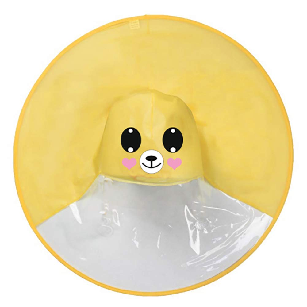 Derkoly Cute Hooded Cartoon Animal/Duck Children Raincoat, Foldable UFO Shape Rain Hat Cape, Creative Magical Hands Free Poncho, Adult Umbrella