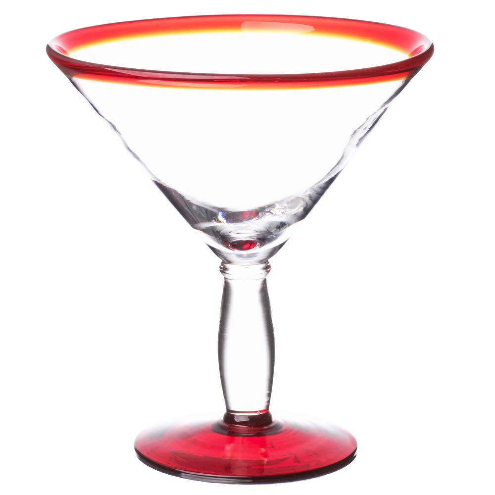 12-Pack Aruba Red Rim Martini Glass 24 oz (Libbey 92307R)