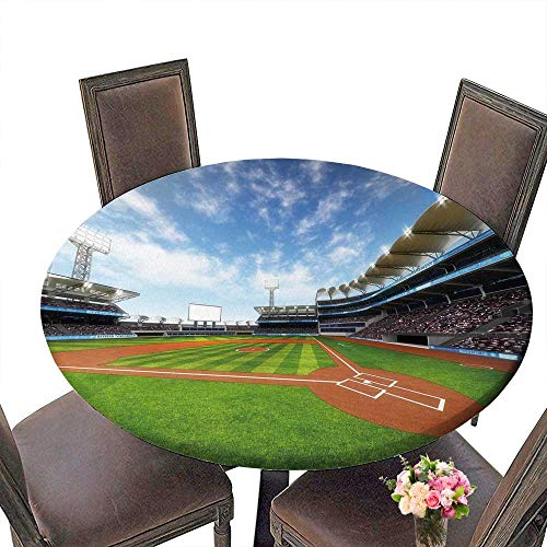 PINAFORE Chateau Easy-Care Cloth Tablecloth Baseball Stadium with Fans at Sunny Weather Sport Theme d for Home, Party, Wedding 43.5