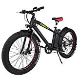 NAKTO 26' 300W Fat Tire Electric Bicycle Mountain Snow Beach Sporting Shimano 6 Speed Gear EBike Brushless Gear Motor with Removable Waterproof Large Capacity 36V10A Lithium Battery and Battery Charge