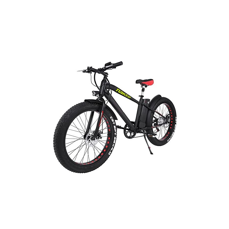 """NAKTO 26"""" 300W Fat Tire Electric Bicycle Mountain Snow Beach Sporting Shimano 6 Speed Gear EBike Brushless Gear Motor with Removable Waterproof Large Capacity 36V10A Lithium Battery and Battery Charge"""