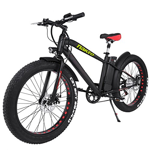 Best Buy! NAKTO 26 300W Fat Tire Electric Bicycle Mountain Snow Beach Sporting Shimano 6 Speed Gear...