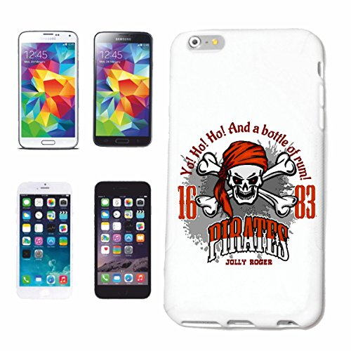 "cas de téléphone iPhone 6S ""A BOUTEILLE DE RUM SKULL PIRATE CORSAIR PIRATE PIRATE CORSAIR SKULL SKELETON"" Hard Case Cover Téléphone Covers Smart Cover pour Apple iPhone en blanc"
