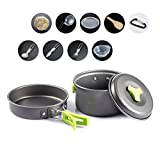 Overmont Portable Camping Pot Set FDA Approved Outdoor Hiking Picnic Camping Gear Aluminum Alloy Cookware and Pot Set