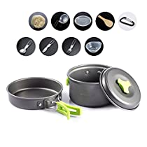 Overmont 13 Pieces Camping Cookware and Pot Set Stainless Steel Portable with Knives Spoon D-Shaped Buckle Net Bag for Outdoor Backpacking Hiking Picnic Cooking