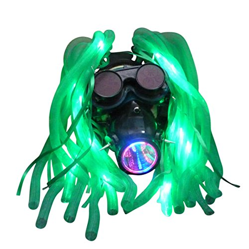 Cyberpunk Costumes (Steampunk goggles LED light dread cyberlock goth RAVE club face mask M2 (cyber punk ))