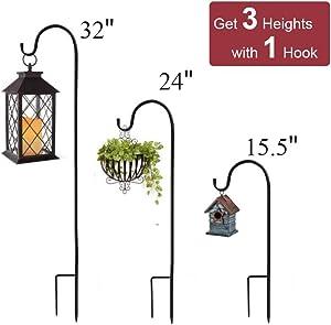 ExcMark Shepherds Hook 32 inch High Use at Weddings, Hanging Flower Baskets, Solar Lights, Lanterns, Bird Feeders, Metal Hanger Hook Steel Hook(2 Pack, 32 inch)