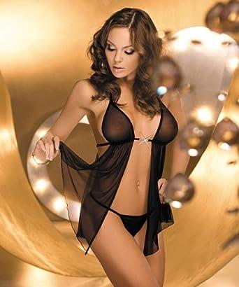 Sexy Lingerie Babydoll Sleepwear Lingerie Lingerie tulle black ...