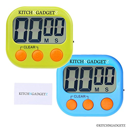 Digital Kitchen Alarm Clock with Countdown Timer - Set of 2 - Fresh Blue and Green - Large LCD Display - Buttons for Minutes and Seconds + Start and Stop - Very Easy to Use - Magnet and Tabletop Stand