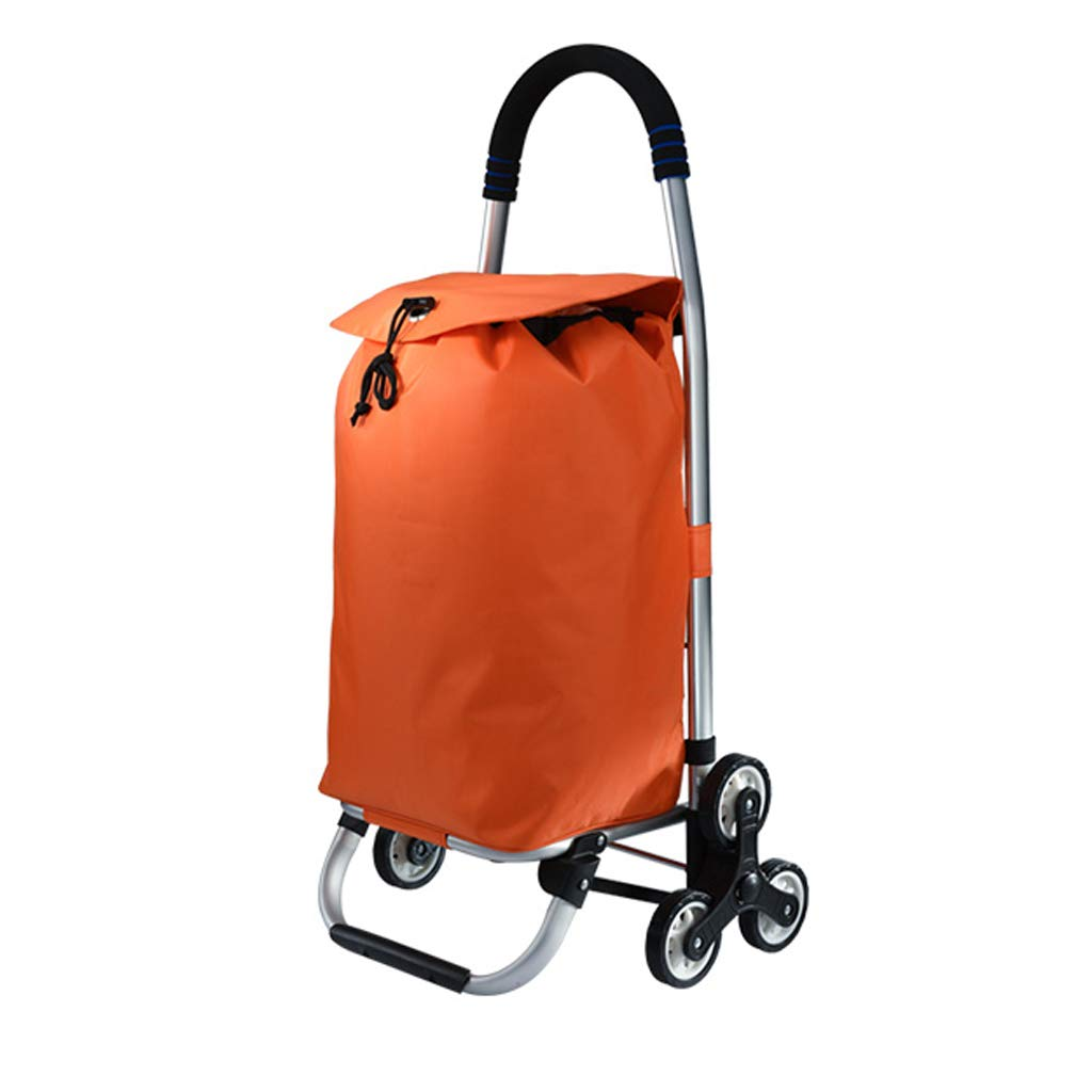 MXueei Color : Orange ZfgG Stylish lightweight folding trolley waterproof large capacity bag mouth drawstring design