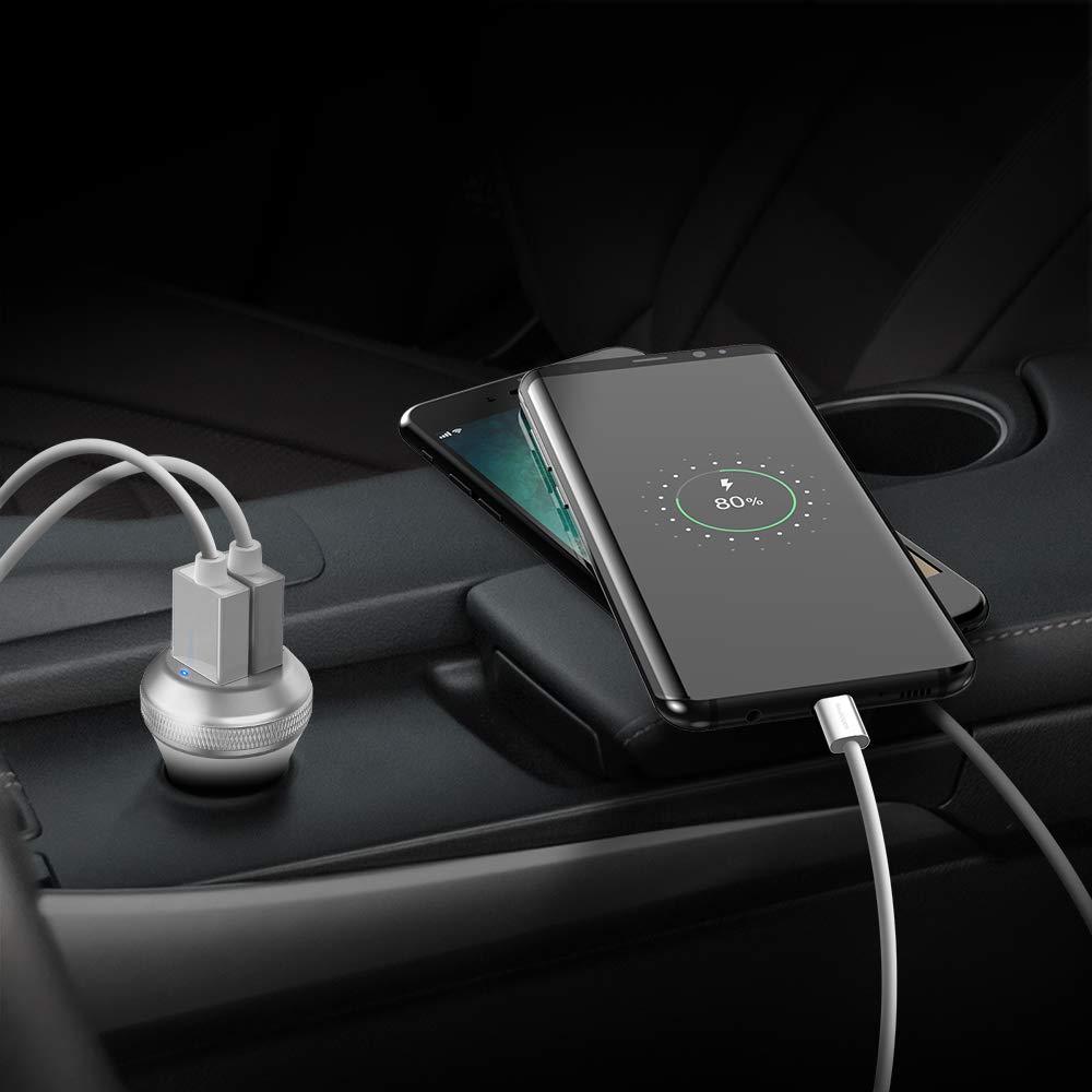 Huawei HTC iPad Pro Air Mini Galaxy S9 S8 Plus RAVPower Auto Ladeger/ät 40W 2 Port Kfz Ladeger/ät mit Quick Charge 3.0 und iSmart 2.0 f/ür iPhone X XS XR XS Max 8 7 6 Plus Powerbank Mp3 usw. LG