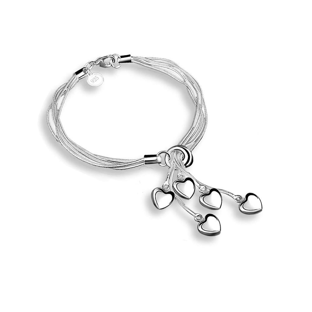 925 Sterling Silver Five-line Chain with Five-Heart Bracelet Bangle - My#10F