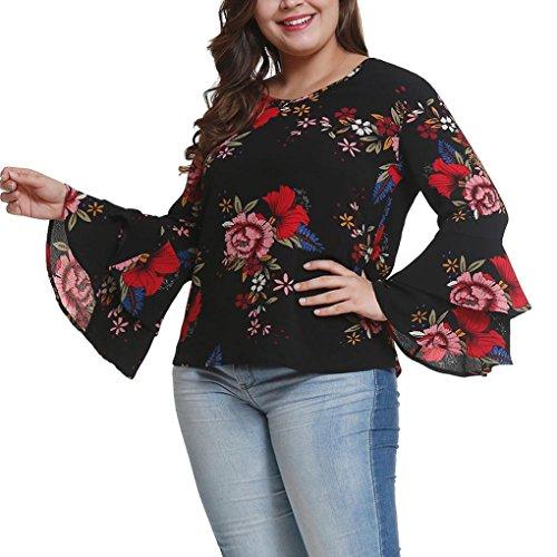 - Gallity Women's Shirt Women Plus Size Tops Bell Sleeve Polka Flower Shirt Casual Loose Blouse Tops (4XL, Black)